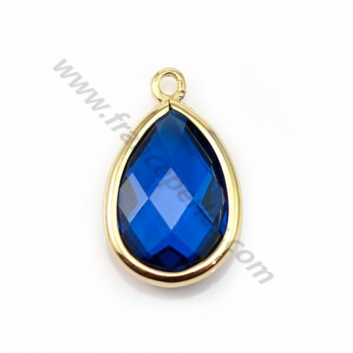 Spacer sterling silver 925  golden and  zirconium sapphire drop 9.5*15.5mm x 1pc