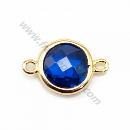 Spacer sterling silver 925 golden and  zirconium sapphire round 9.5*14.5mm x 1pc