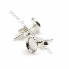 925 sterling silver ear studs for half-drilled pearls 9mm x 2pcs