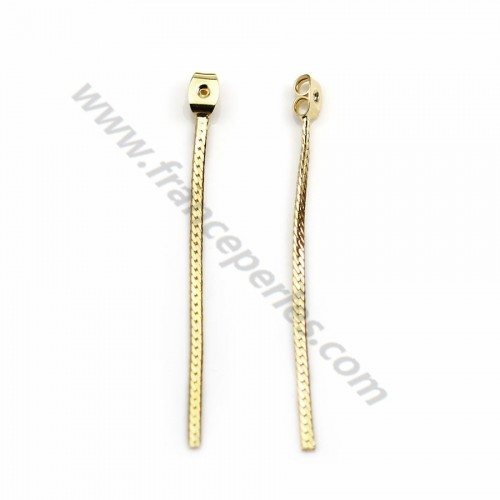 "Earrings Veneer by ""flash"" Gold on brass 2.7*16mm x 2pcs"