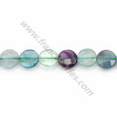 Fluorite in faceted flat round shape x 39cm