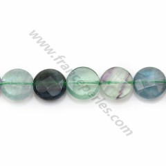 Fluorite in faced flat round shape, 10mm x 40cm