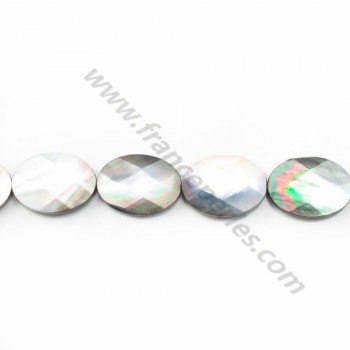 Gray mother-of-pearl faceted oval beads on thread 16x20mm x 40cm