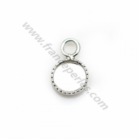 Pendant in 925 silver, with set for round cabochon of 6mm x 2pcs
