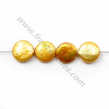 Golden Freshwater Pearl round plate12mm X 2pcs