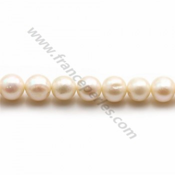 White freshwater pearls on thread 8x9mm x 40cm