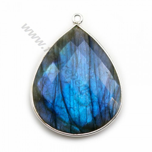 Labradorite pendant set in silver, in shape of a drop 26*31mm x 1pc