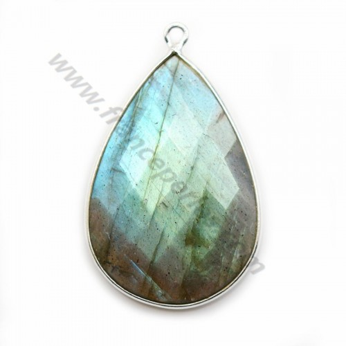 Labradorite pendant set in silver, in shape of a drop 21*31mm x 1pc