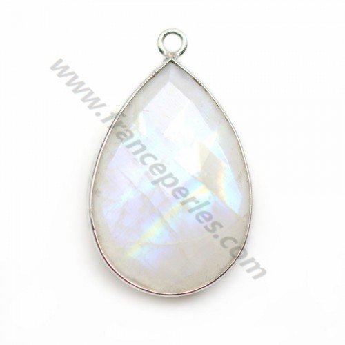 Moonstone pendant set in silver, in the shape of a drop 21*31mm x 1pc