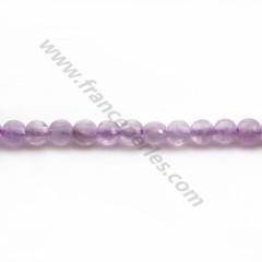 Jade violet rond plat facette 4mm x 40cm