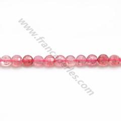 "Quartz ""strawberry"", in round faceted shape, 2.5mm x 39cm"