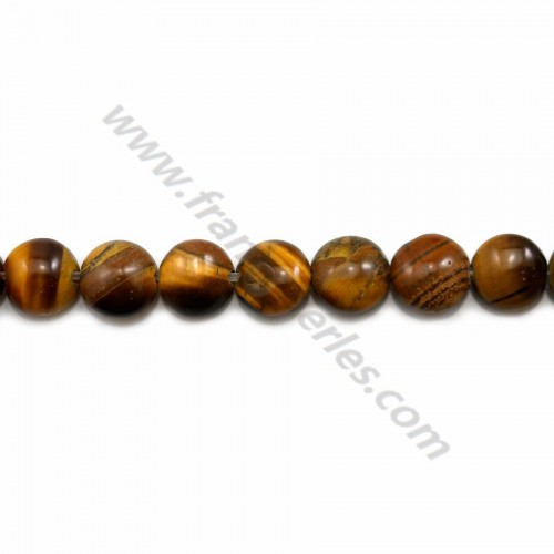 Tiger's eye flat round beads on thread 12mm x 40cm