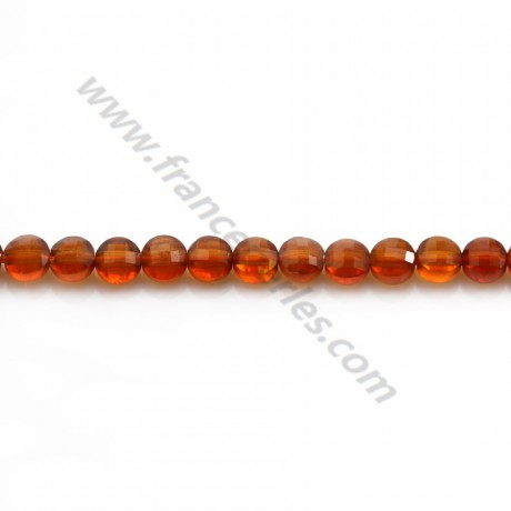 Hessonite rond plat  facette 4mm x 40cm