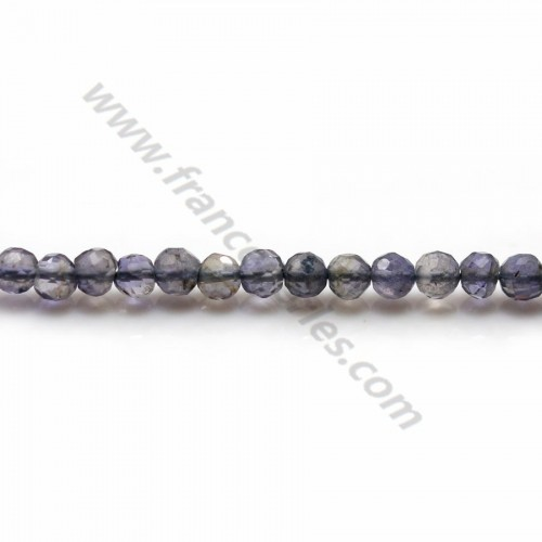 Iolite (cordierite) color blue-violet, in shape of round faceted, size 3.5-4mm x 35cm
