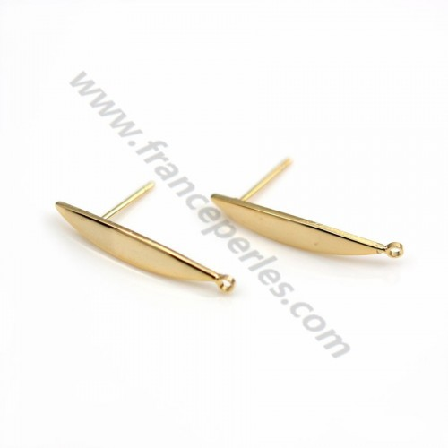 "Ear studs 4*24mm, plated by ""flash"" gold on brass x 2pcs"