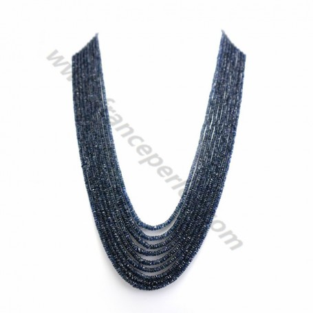 Necklace ruby sapphire emerald slice facet 7 strands 2.9-3.7mm