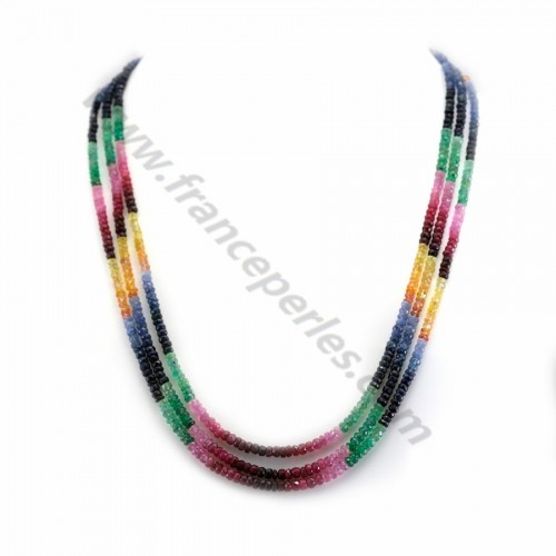 Necklace 7 rows with ruby sapphire emerald in washer faceted 2.8-3.9mm x 1pc