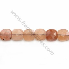 Orange sun stone, in a faceted squared shaped 8mm x 4cm