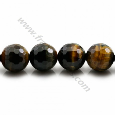 Falcon / tiger eye, in the shape of a faceted round 16mm x 39cm