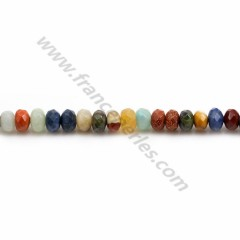 Mix of stones, in shape of a faceted washer, 4 * 6mm x 39cm