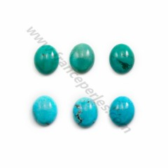 Cabochon of oval-shaped turquoise, 13 * 18mm, x 1pc