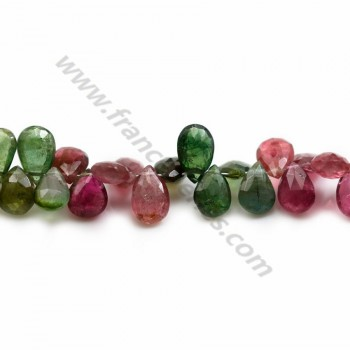 Tourmaline Goutte Plat Facette ,6*9mm x 20cm