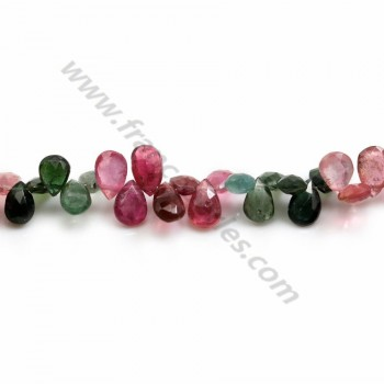 Tourmaline Faceted Flat Teardrop 4x6mm x 20cm