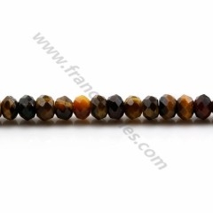 Tiger's eye and falcon's eye mixed, in shape of a faceted washer, 4 * 6mm x 39cm