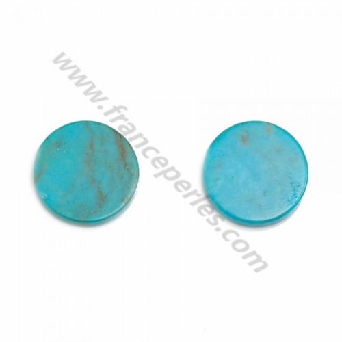 Cabochon Turquoise rond plate 10mm x1pc