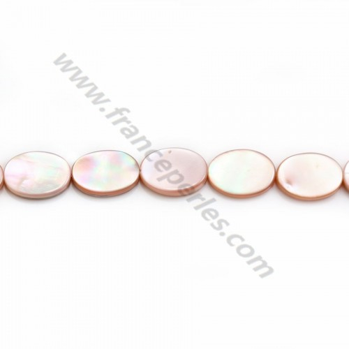 Pink mother-of-pearl oval beads on thread 10x14mm x 40cm