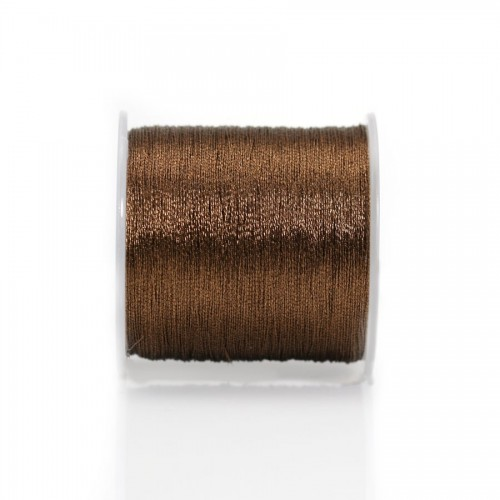 Fil polyester de couleur marron, pailleté, 0.3mm x 150m