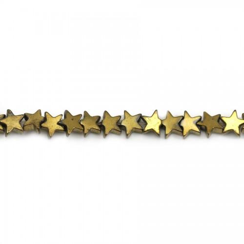 Hématite dorée, en forme d'étoile, 4mm x 40cm