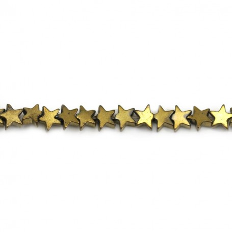 Gold Hematite, in shape of a star, 4mm x 40 cm