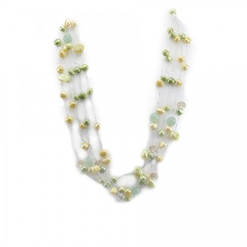 Collier perle de culture d'eau douce multicolore 5 rangs