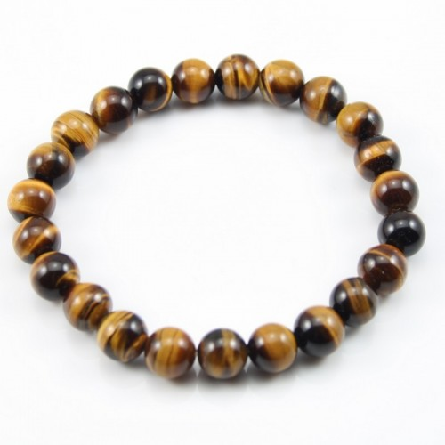 Bracelet Greta Tiger Eye Round Ball 8 MM
