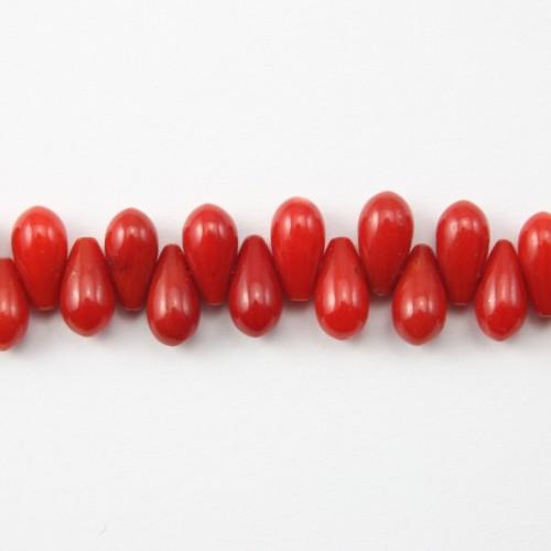 Bamboo de mer teinte rouge goutte 4*8mm